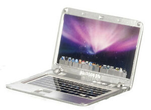 Dollhouse Miniature Modern Silver Metal Laptop Computer