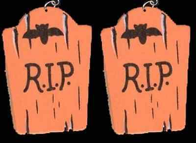 Funny Gothic TOMBSTONE EARRINGS-RIP-Retirement Novelty Halloween Costume - Funny Rip Halloween Tombstones