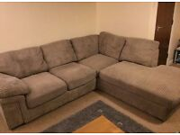 Cord fabrics corner sofa, very tidy and comfy, little use - Can deliver