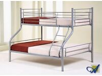 AMAZING SILVER FINISH! BRAND NEW TRIO METAL BUNK BEDS DOUBLE BOTTOM WITH MATTRESS