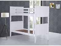 White, Bunk Bed, with, supreme, ortho, Sprung, Mattress, single beds,
