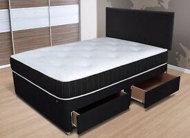 NEW ORTHOPEIDIC FABRIC DIVAN BED SET + MATTRESS + HEADBOARD 3FT 4FT 4FT6 Double 5FT