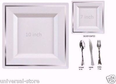 disposable plastic plates silverware square silver combo set wedding party  - Plastic Silver Silverware