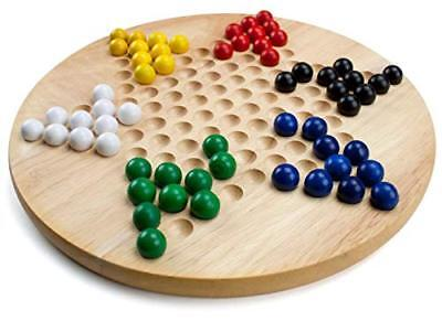 Wooden Chinese Checkers Family Board Game Set. with Extra Wood -