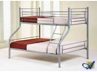 FURNITURE FREE-Trio Sleeper Metal Bunk Bed Frame in silver Color and Mattress Options