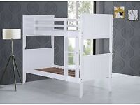 Strong, White, Bunk Bed, x 2 Mattress, converts to single beds.