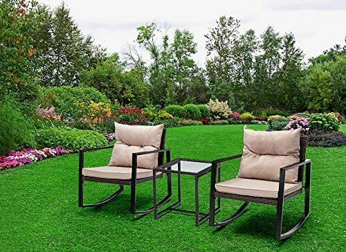 Garden Furniture - 3pcs Rattan Garden Outdoor Furniture Set Rocking Chairs Table- Rocky