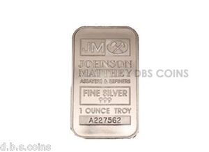1 - Silver Johnson Matthey 1 Troy Ounce .999 Fine Silver Bar JM 1oz. Sealed Bar
