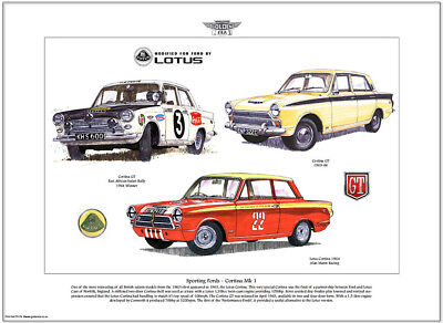 SPORTING FORDS - CORTINA Mk I - Art Print - Lotus GT Alan Mann Racing - A3 size