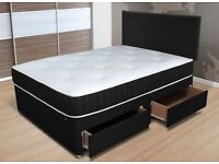 DOUBLE LEATHER BED FRAME & MEMORY FOAM SPRUNG MATTRESS - DELIVERED - NEW