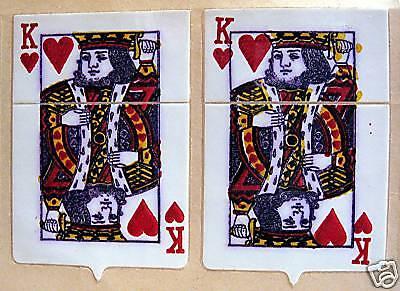 Vintage King Hearts Card Flip Top Old Cigarette Lighter Sticker Old Store Stock