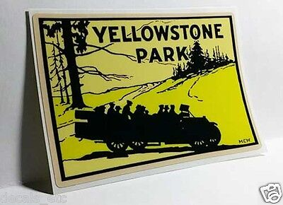 YELLOWSTONE PARK Touring Car Vintage Style Travel Decal, Vinyl STICKER, Label