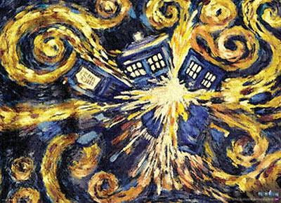 DOCTOR WHO - VAN GOGH EXPLODING TARDIS POSTER 24x36 - DR TV BBC 5117