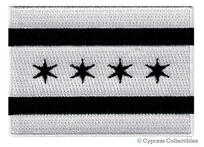 CHICAGO CITY FLAG embroidered iron-on BLACK PATCH EMBLEM ILLINOIS COOK COUNTY