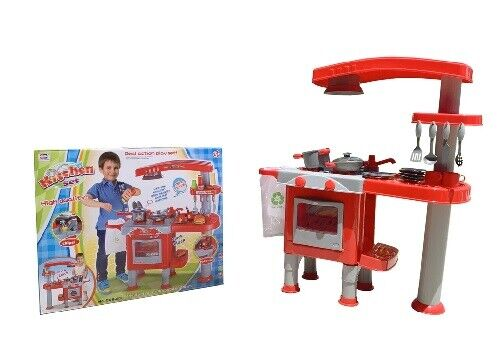 KIDS INDOOR AND OUTDOOR TOY KITCHEN PLAY SET WITH OVEN AND STOVE TOP AND OVEN Kitchens