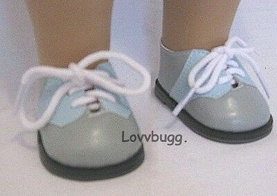 "Lovvbugg Blue n Gray Saddle Oxford for 18"" American Girl n Bitty Baby Doll Shoes"