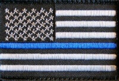 Thiny Blue Line USA Flag patch / Police, CIA, FBI, SWAT, DEA, Game Warden,...NEU