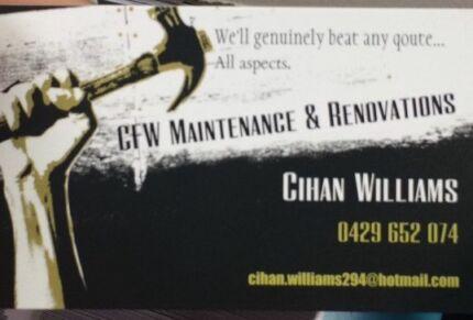 CFW Maintenance & Renovations  Bellbird Cessnock Area Preview