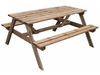 new 6 seat wooden picnic table