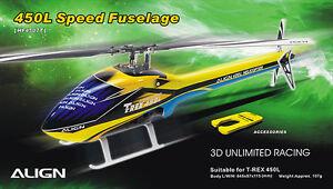 Align Trex 450 L Dominator Yellow & Blue Speed Fuselage HF4507