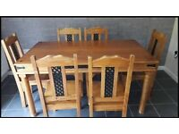 Pine table & chairs (delivery available)
