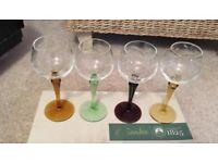 Vintage Coloured Stem Wine Port Glasses X4