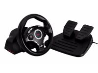BRAND NEW IN BOX! Trust GXT-27 Force Vibration Steering Wheel PC/PS3 USB