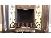 Beautiful Cast Iron Art Nouveau Style Tiled Fireplace