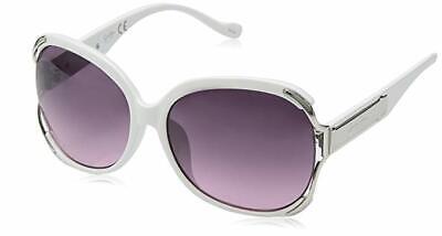 Neu Jessica Simpson Weiß Kunststoff + Silber Metall Akzent Sonnenbrille