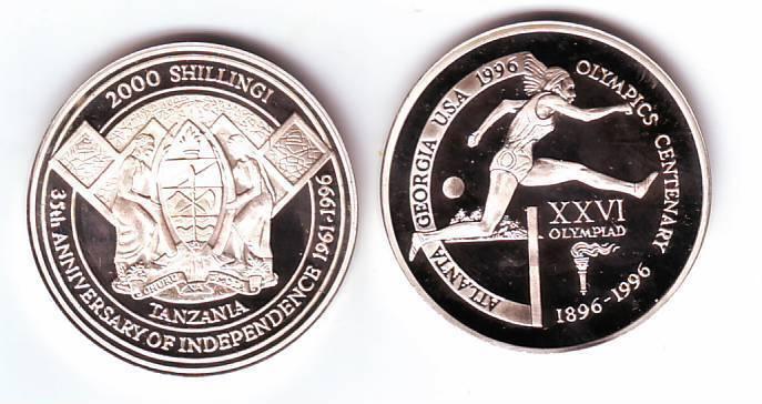 Ex.Rare 1996 Tanzania Piedfort 2000s pattern Olympic Hurdles T2