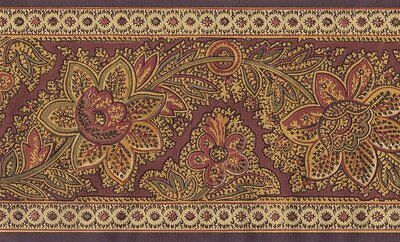 Exotic Wine And Gold Jacobean Wallpaper Border