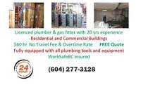 Licensed Plumber & Gas Fitter - 20 yrs exp. - $60/hr FREE Quote