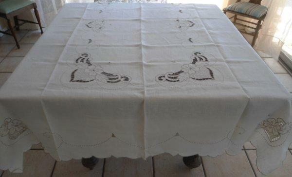 Vintage Madeira Banquet Tablecloth Set Embroidered Cutwork Napkins