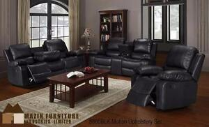 NEW!!! 2pc Reclining Sofa and Chair in a Black Airehyde Model 8885