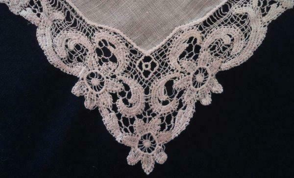 Vintage Schiffli French Lace Hanky Creamy White Embroidered