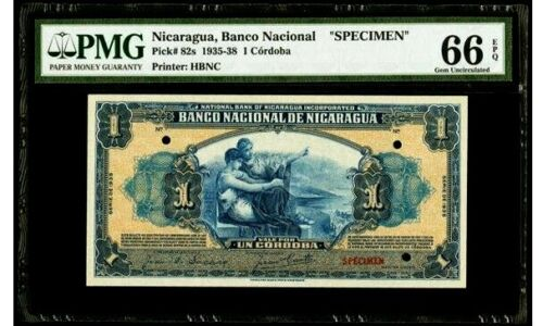 PMG Nicaragua 1935 Specimen 1 Cordoba 66 EPQ GEM **POP 1 Finest**