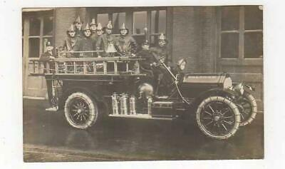 FIREMEN ON FIRE TRUCK WALTHAM MASS. CHAINS ON TIRES, C1910, REAL PHOTO POSTCARD On Fire Photo