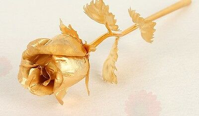 "Valentines Mother's Day 24K Gold Dipped Long Stem Rose 10"" Flower Decor Gift Box"