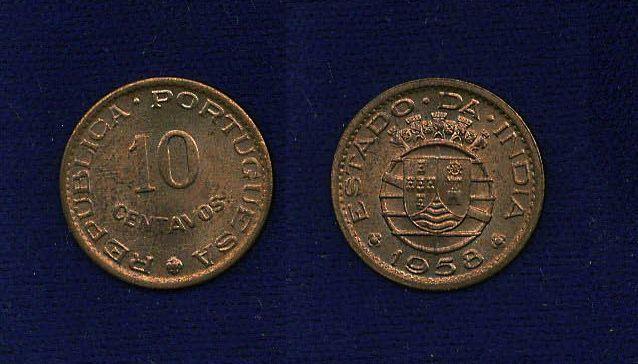 INDIA PORTUGUESE  1958  10 CENTAVOS CHOICE UNCIRCULATED