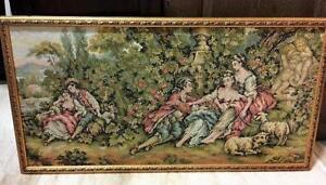 Large Tapestry Art in Gold Frame