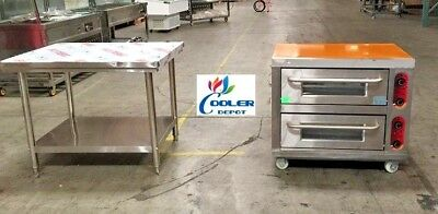 New Commercial Double Electric Pizza Oven Bakery W Stainless Steel Table 220v