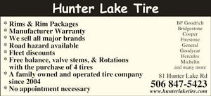 SPRING TIRE  BLOWOUT SALE AT HUNTER LAKE TIRE