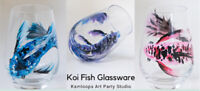 Koi Fish Glassware painting March 4