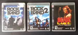 Rockband, Rockband 2 et Rockband AC/DC pour PS3.