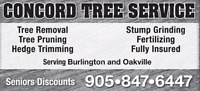 TREE REMOVAL / PRUNING / STUMP GRINDING / OAKVILLE TREE  SERVICE