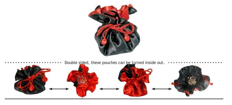 1 dz 12 BLACK RED REVERSIBLE DRAWSTRING FAVOR POUCH GIFT BRIDAL PARTY TRAVEL