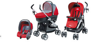 Italian Peg-Perego Switch stroller with bassinet + car seat