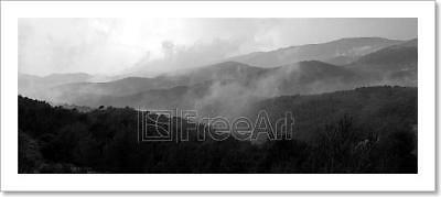 Fog On Black And White Mountains Panorama Art Print Home Decor Wall Art Poster