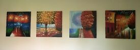 Set of 4 Colourful Canvas Pictures