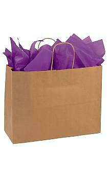 Large Natural Kraft Paper Shopping Bags - 16l X 6d X 12 H - Case Of 250